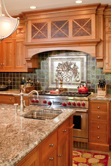 industrial stove with backsplash