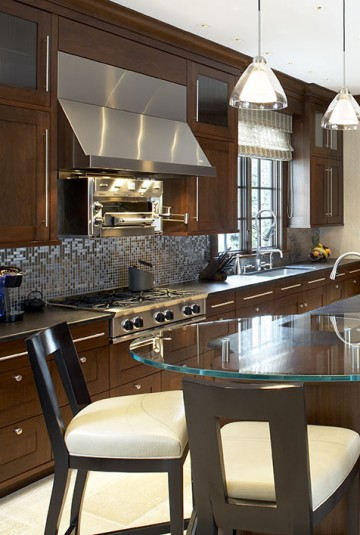 New England remodeled kitchen using dark wood