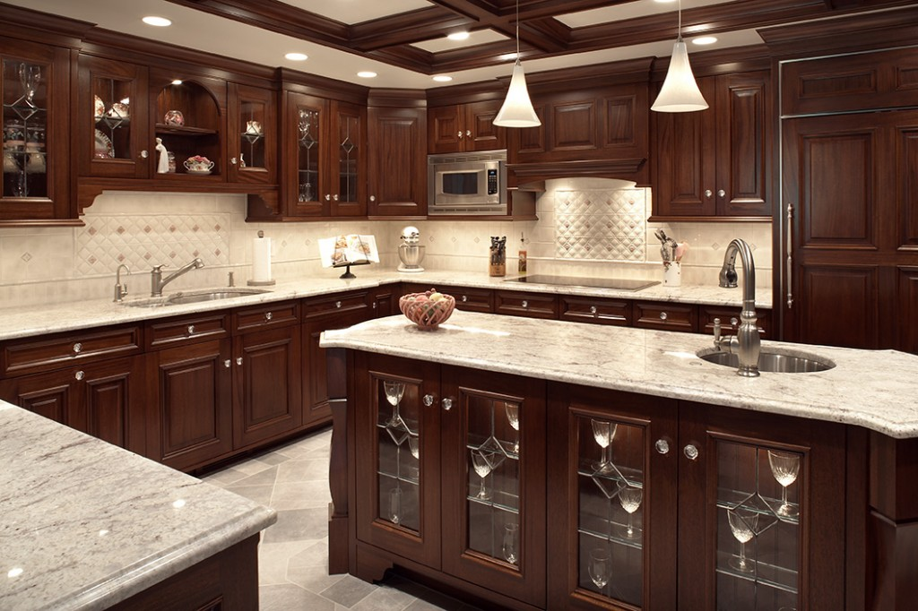 Kitchen Idea With Dark Cabinets And Light Countertops. Galley Kitchen Design  Idea
