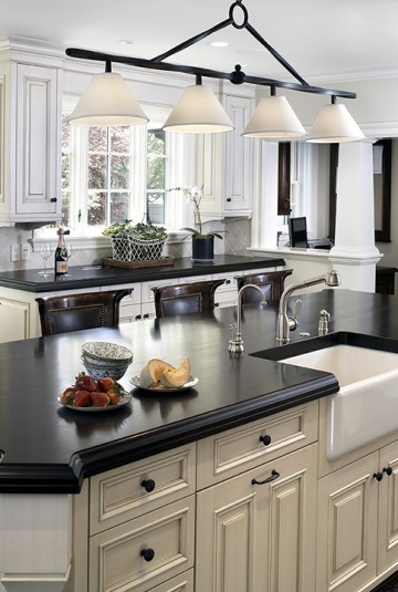 kitchen island with dark counters