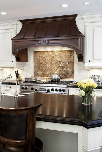 kitchen wooden stove hood