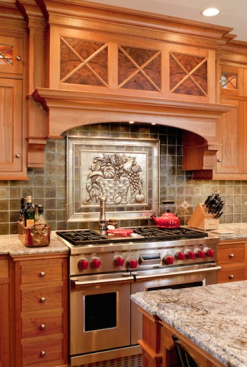 tin backsplash industrial stove